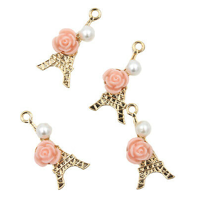 10x Gold Plated Alloy Tower Flower&Pearls Charms Pendants New Jewelry Ornament J