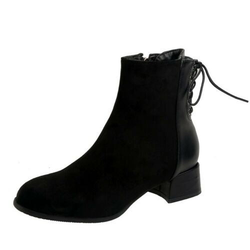 Details about  /Women/'s Square Toe Patchwork Pattern Block Low Heel Zip Up Office Ankle Boots B
