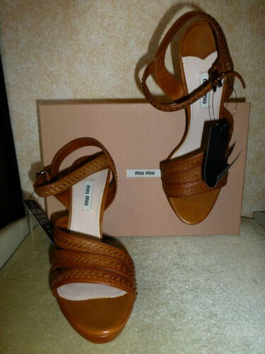 Sandals 5 Heel Leather 7 Tan Whipstitched Miu Brown In 5 5 Box New Eu40 Us10 AFBt1txqw