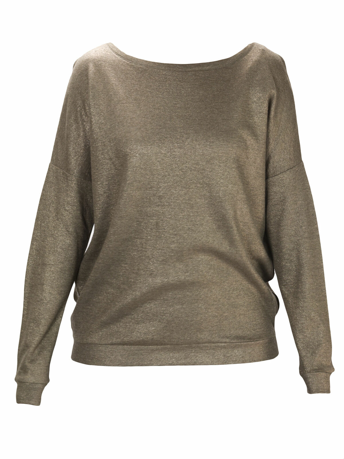 MAJESTIC FILATURES PARIS Woherren Antique Gold Metallic Sweatshirt  NWT