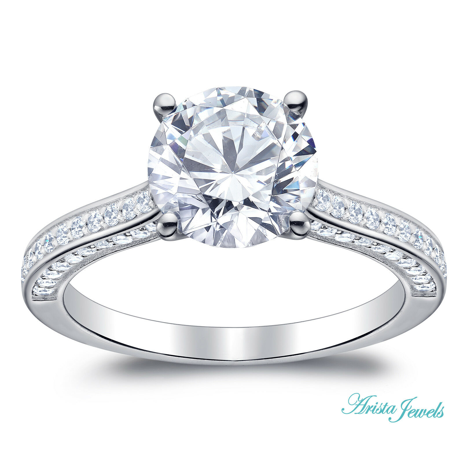 14KT Solid White Gold 2.60Ct Fantastic Round Shape Solitaire Engagement Ring