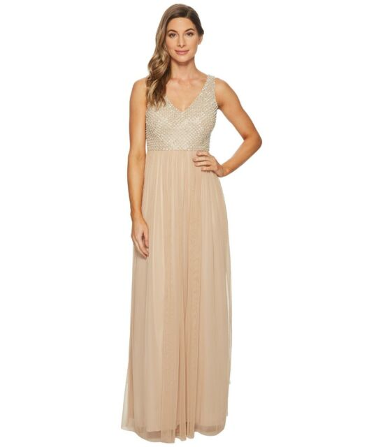 43a8a7a26c72 Buy Adrianna Papell Womens Beige Embellished Mesh Beaded Gown V-neck ...