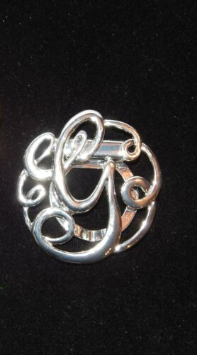 NWT WOMEN/'S SILVER OR GOLD LETTER /'G/' MONOGRAM FASHION SCARF RING//CLIP//SLIDER