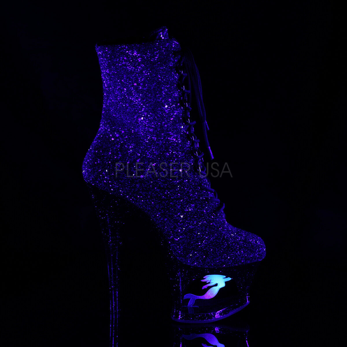 PLEASER Sexy 6  Talon Strip-teaseuse Plateforme Plateforme Plateforme Violet Paillettes Noir Femmes Bottines 4e8eea