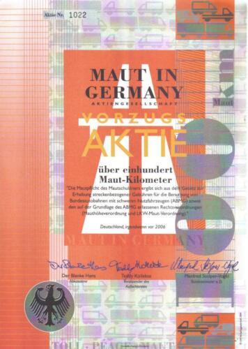 Original Germany Bond Share Aktie Toll Maut DECO Rare uncancelled