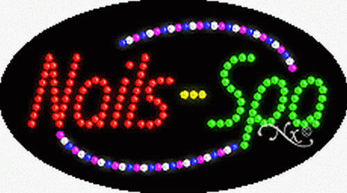 """NEW """"NAILS-SPA/"""" 27x15x1 OVAL SOLID//ANIMATED LED SIGN w//CUSTOM OPTIONS 24008"""