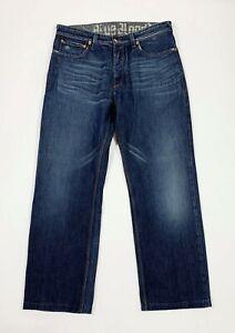 Blue-blood-jeans-uomo-usato-W33-tg-47-denim-relaxed-gamba-dritta-boyfriend-T5702