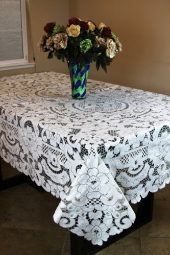 Elegantlinen Embroidered Embroidery Floral Full Cutwork Tablecloth Napkin 72x126