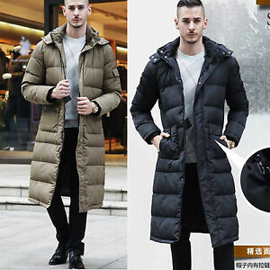 arrives shop for genuine suitable for men/women Details about Men Full Length Down Hooded Warm Long Puffer Jacket Coat  Parka Trench Size S-3XL