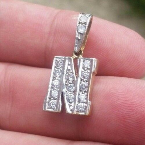 9ct gold Letter N pendant with CZ stones