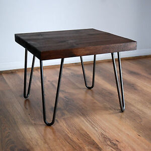 Image Is Loading Rustic Side Table W Metal Hairpin Legs Solid