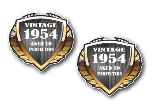 2pcs SHIELD Dated 1954 Vintage Aged To Perfection Vinyl Biker Helmet car sticker