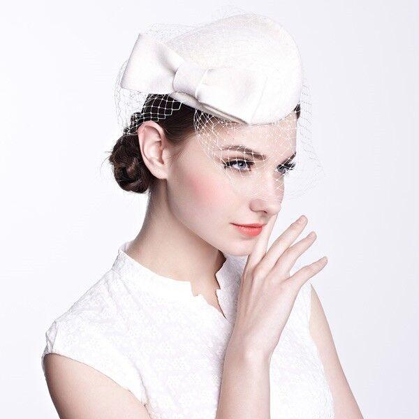 A082 Gatsby Vintage Womens Fascinator Felt Wool Cocktail Hat Derby Wedding Ascot