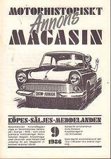 Motorhistoriskt Magasin Annon Swedish Car Magazine 9 1986 Volvo 032717nonDBE