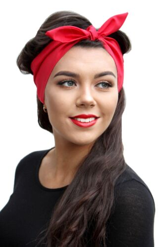 RED VTG 50s STYLE PIN UP HEAD SCARF ROCKABILLY INDIE GRUNGE 1950S
