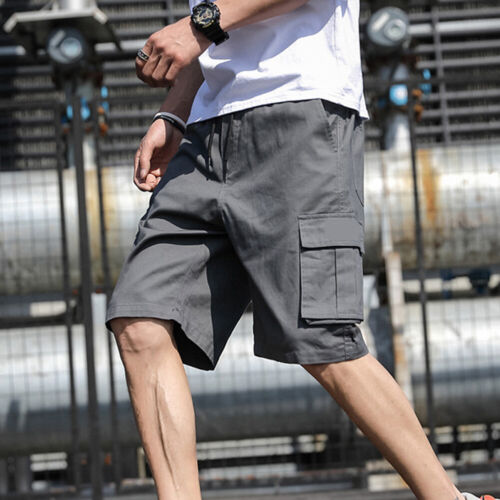 Men Summer Short Cargo Pant Cotton Loose Solid Youth Casual Shorts Overalls M-5X