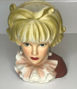 Vintage-Lady-Head-Vase-Relpo-Japan-K1817-Ruffled-Blouse-Pearls-Blonde-Blond