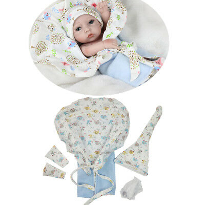 5pcs Baby Dolls Clothes Blanket Socks Hat for 10-11inch Reborn Girl Boy Doll