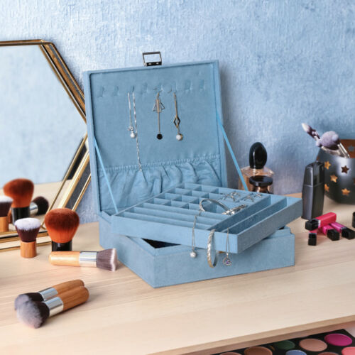Two-Layer Jewelry Box Organizer Lint Jewelry Display Storage Case with Lock