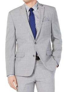 Bar III Mens Blazer Gray Size 36 R Sharkskin Two Button Slim Fit Wool $425 282