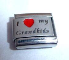 I LOVE MY GRANDKIDS Italian Charm  Red Heart 9mm Classic Size Grandchildren E368