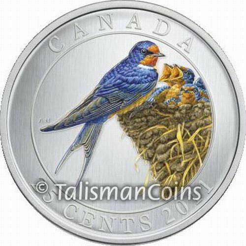 Canada 2011 Colorful Birds Barn Swallow 25 Cent Color Specimen Quarter Full OGP