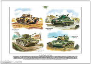 Details about BRITISH TANKS OF WWII Fine Art Print - Churchill, Crusader,  Cromwell & Comet