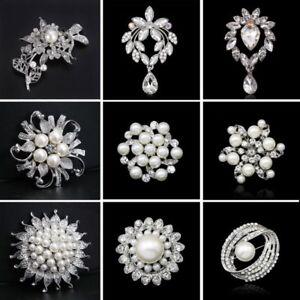 Fashion rhinestone crystal pearl white flower brooch pins womens image is loading fashion rhinestone crystal pearl white flower brooch pins mightylinksfo