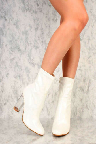 New Round Toe Clear Chunky Clear Ankle Booties High Heels Faux Leather Suede