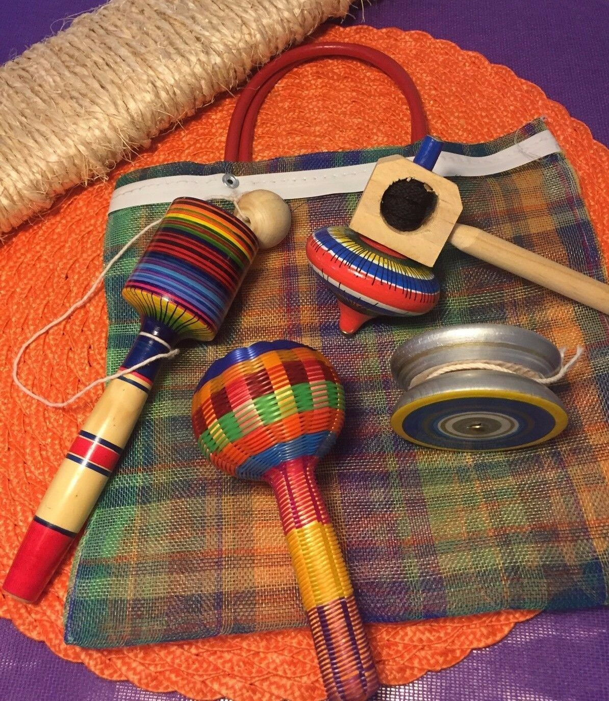 Kid Toys combo - Spinning Top  Rattle  Balero Yoyo in a handcrafted MEDIUM bag.