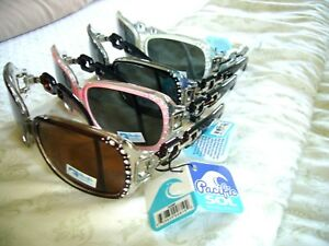 c0fba2b2b2 Image is loading WOMEN-039-S-LADIES-POLARIZED-SUNGLASSES-W-RHINESTONES-