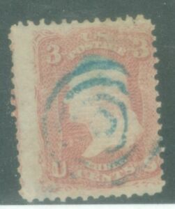 US-88 George Washington 3c ISSUED 1861-66 CANCELLED GRILLED POINTS UP