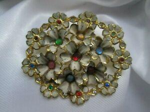 Vintage-Enamel-Gold-Tone-Metal-Multi-Coloured-Rhinestone-Flower-Brooch-Pin
