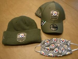 PITTSBURGH-STEELERS-SALUTE-TO-SERVICE-LOT-BALL-CAP-WINTER-HAT-AND-CAMO-FACEMASK