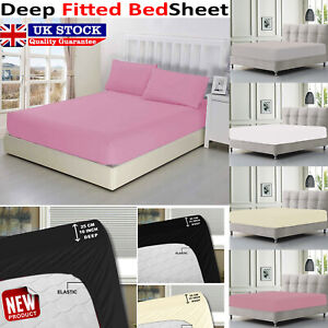 Poly Cotton Extra Deep Fitted Sheet 40Cm Double Single SuperKing Size Pillowcase