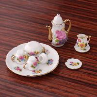 1/12 Puppenstube Mini Kaffeekanne Set Puppenhaus Tee Kanne Teeservice Blume Form