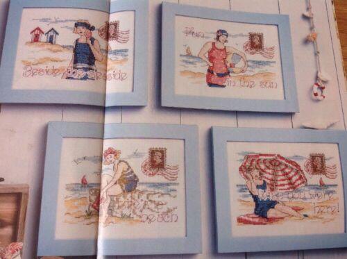 L vintage plage bord de mer cartes Plage cabanes sable mer cross stitch chart