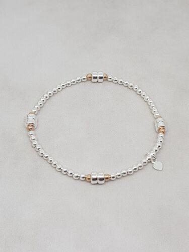 Sterling Silver /& Rose Gold Beaded Stretch Stacking Bracelet