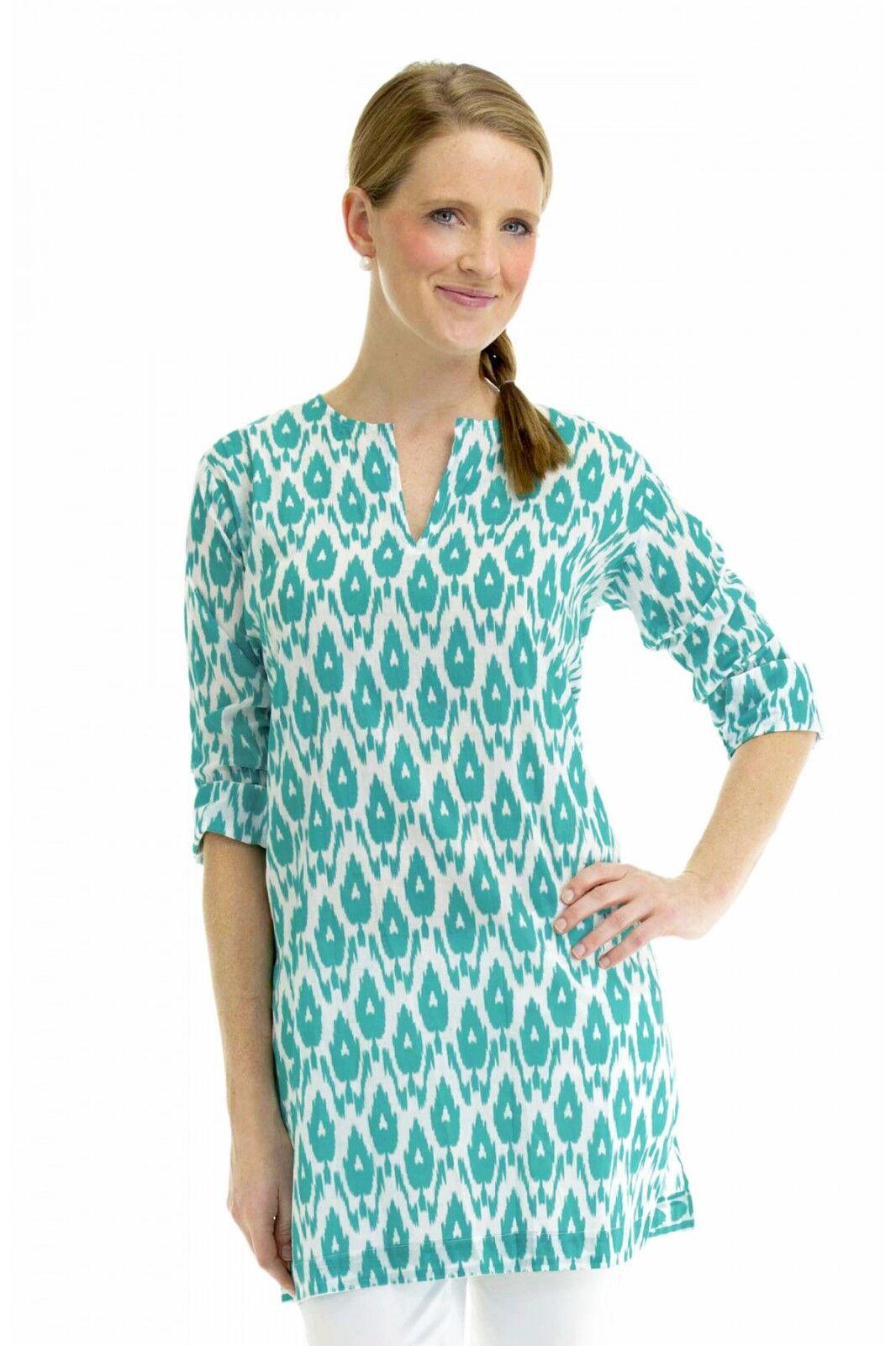 SALE   Gretchen Scott Tunic Turquoise Ikat  Print Tunic  Blouse  Beach Cover