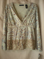 Axcess Liz Claiborne Womens Cross Over Top E Size S M Empire Long Sleeve Cot