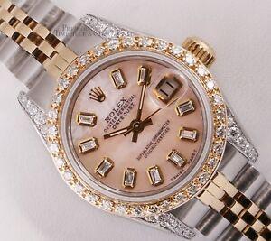 Rolex-Lady-26mm-Datejust-Two-Tone-18k-Diamond-Bezel-amp-Lug-Pink-MOP-Baguette-Dial