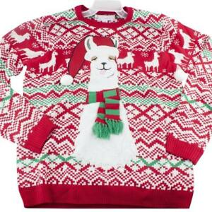 Jolly Sweaters Mens Red Fuzzy Drunk Llama Ugly Christmas Sweater