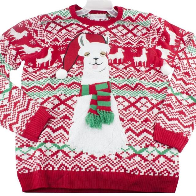 Llama Christmas Sweater.Jolly Sweaters Men S Red Fuzzy Drunk Llama Ugly Christmas Sweater Nwt Size L Xl