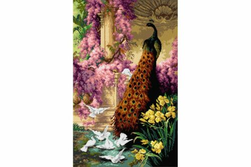 TAPESTRY CANVAS A Peacock and Doves in a Garden 50X81cm 2629T