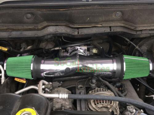 Chrome Green  Dual Head Air Intake Set For 1999-2004 Jeep Grand Cherokee 4.7L V8