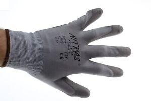 12-Paar-Arbeitshandschuhe-Nitras-6205-NYLON-PU-Handschuh-Grau-Groesse-L