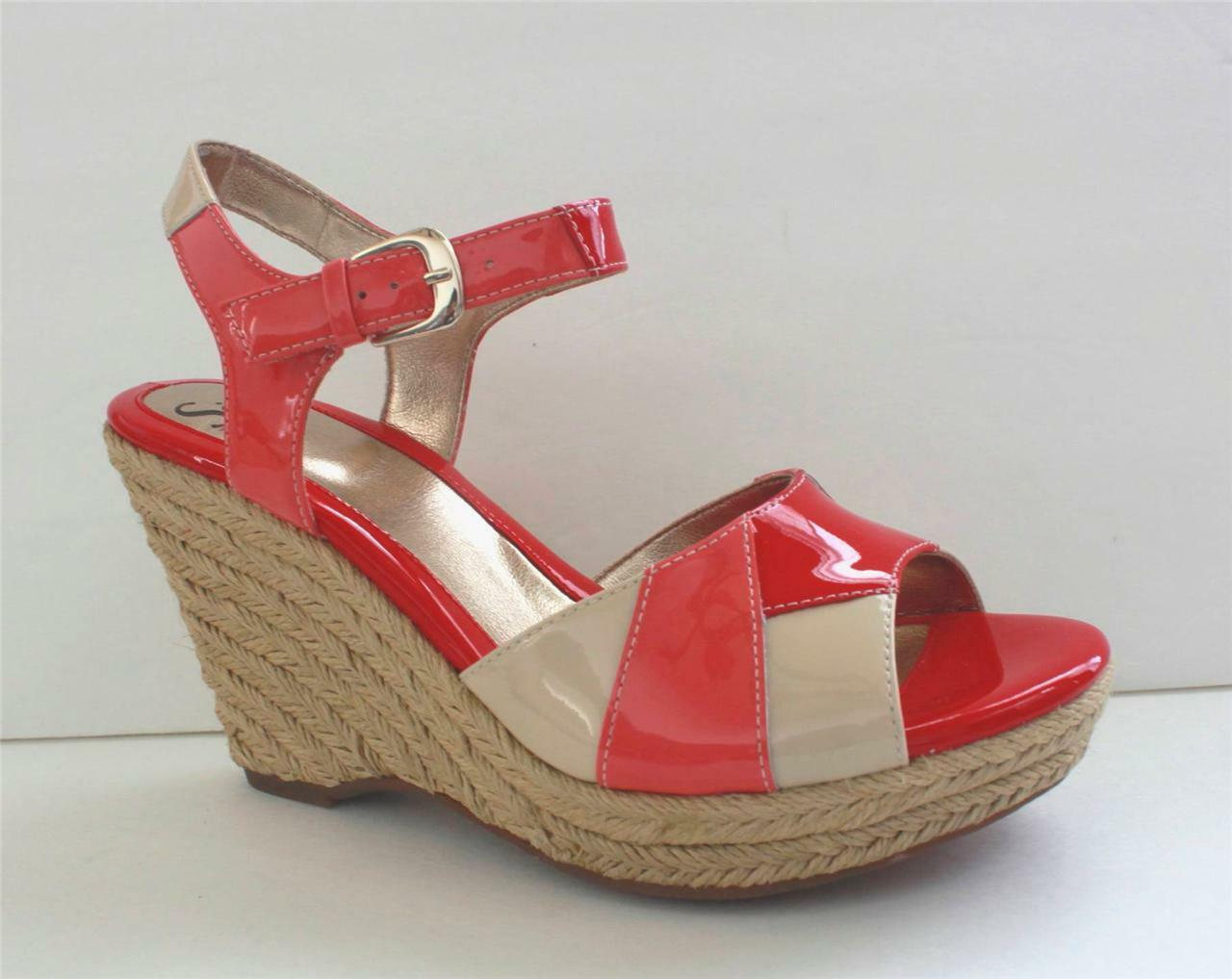 Sofft Coral Women's Patent Leather Wedge Sandal Heel Shoes Size 9 Euro 40