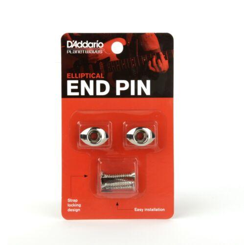 Button End Pin Chrome Pair D/'Addario PWEEP202 Elliptical Guitar Strap Pin