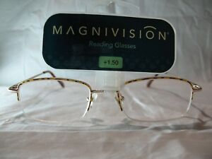 Magnivision-Apex-Brown-Tort-Half-Frame-Reading-Glasses-1-25-1-50-1-75-2-25-2-75