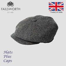 795b747eaea Failsworth Carloway Blue Herringbone Harris Tweed Newsboy Peaky Blinders Cap